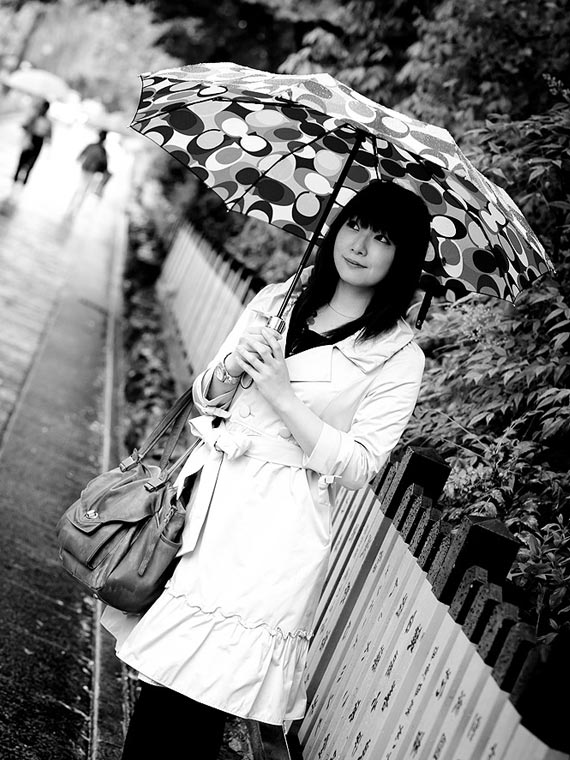 Girl with umbrella. Japan street photography